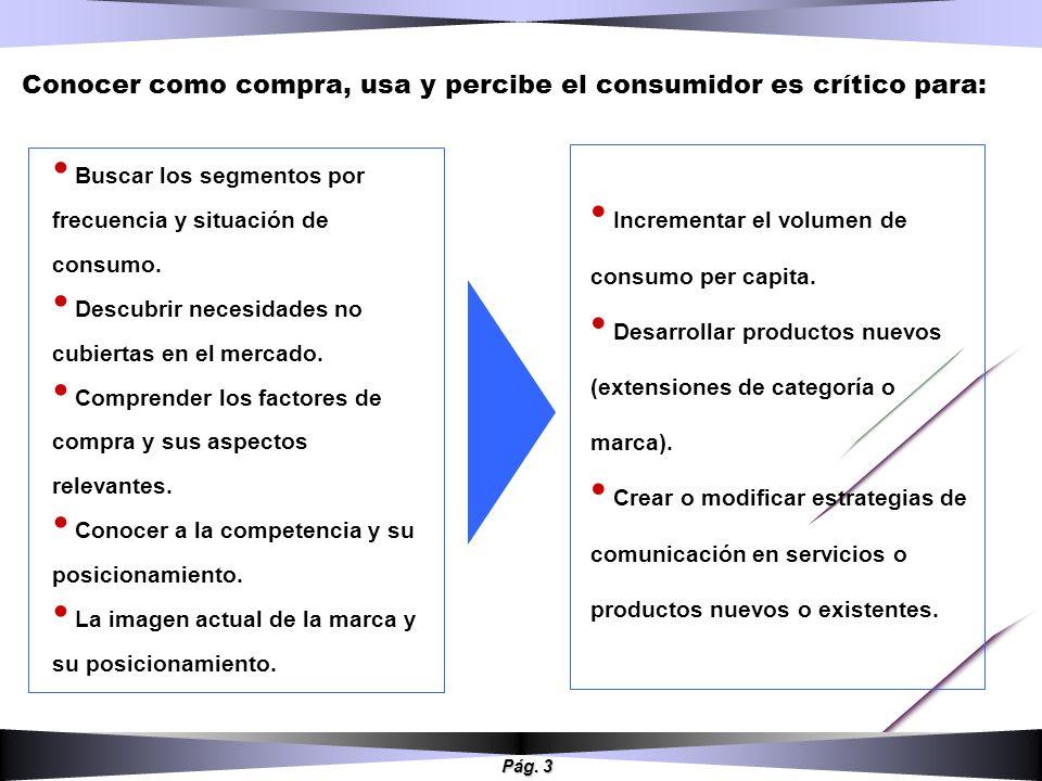 Pág. 3 Buscar los segmentos por frecuencia y situación de consumo. Descubrir necesidades no cubiertas en el mercado. Comprender los factores de compra