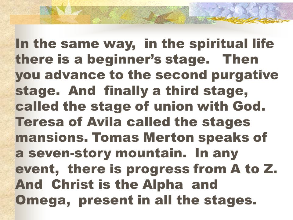 In the same way, in the spiritual life there is a beginners stage. Then you advance to the second purgative stage. And finally a third stage, called t