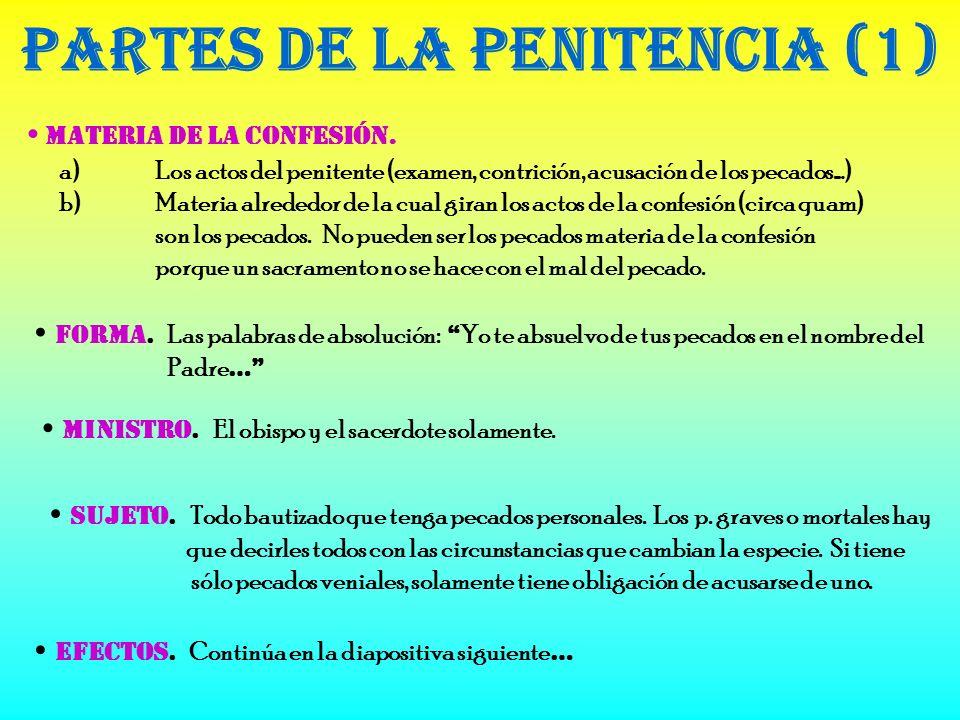 Materia de la Confesión.Partes de la Penitencia (1) Forma.