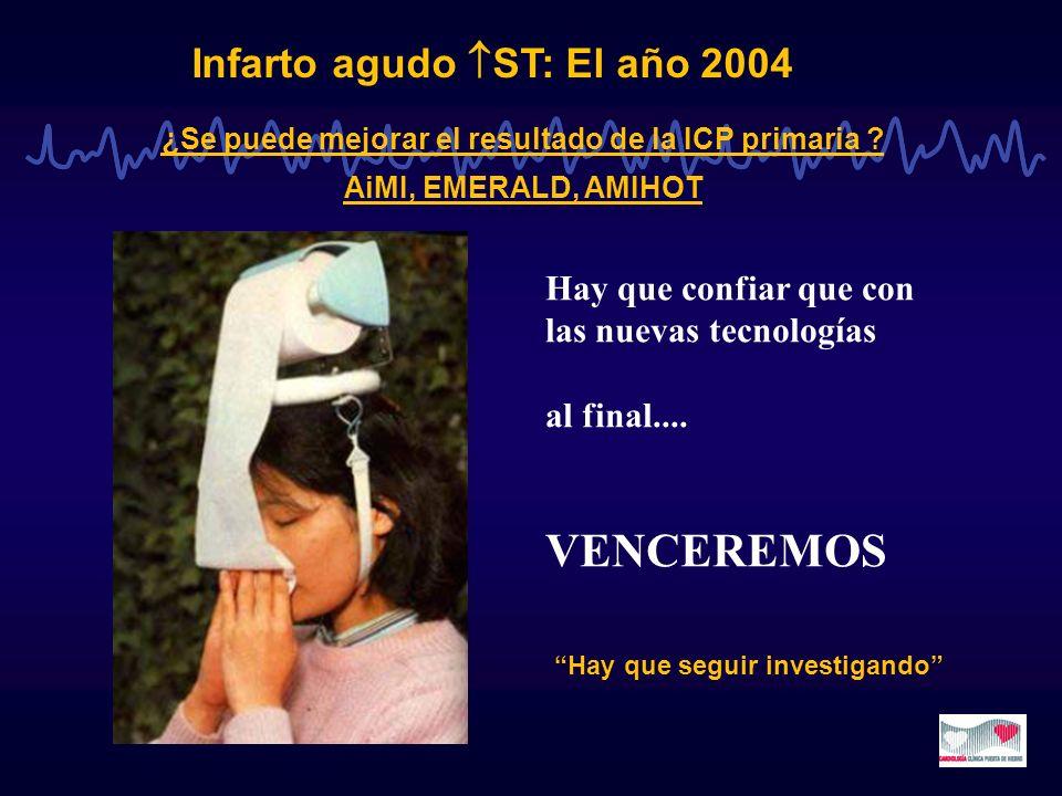 Infarto agudo ST: El año 2004 ¿Se puede mejorar el resultado de la ICP primaria ? AiMI, EMERALD, AMIHOT Hay que confiar que con las nuevas tecnologías