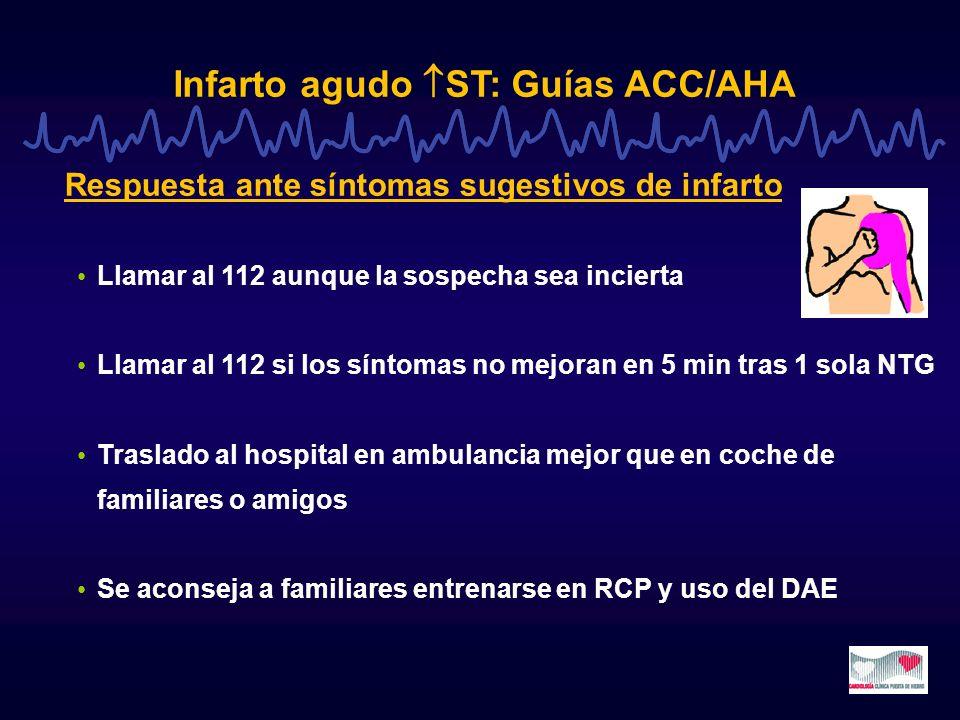 Infarto agudo ST: Guías ACC/AHA Tiempo transporte al hospital > 60 min Ambulancias con médico o con paramédico entrenado, que puede transmitir el ECG al hospital y está comunicado con un médico del hospital Tenecteplase iv + enoxaparina sc (< 75 años, creatin< 2.5 mg%) (clase IIb) Fibrinolisis prehospitalaria razonable