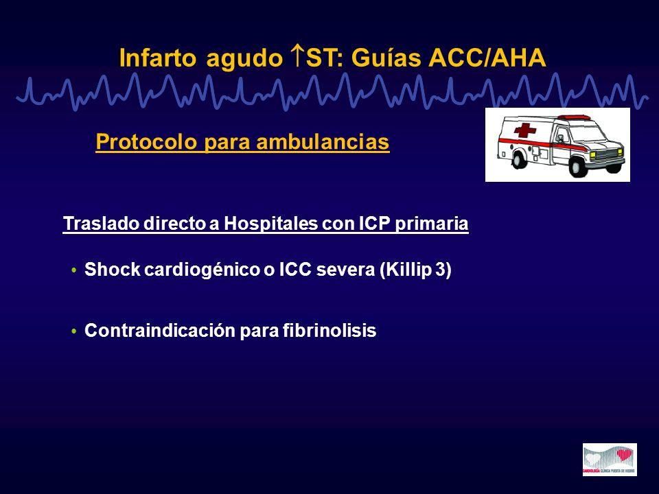 Infarto agudo ST: Guías ACC/AHA Shock cardiogénico o ICC severa (Killip 3) Contraindicación para fibrinolisis Protocolo para ambulancias Traslado dire
