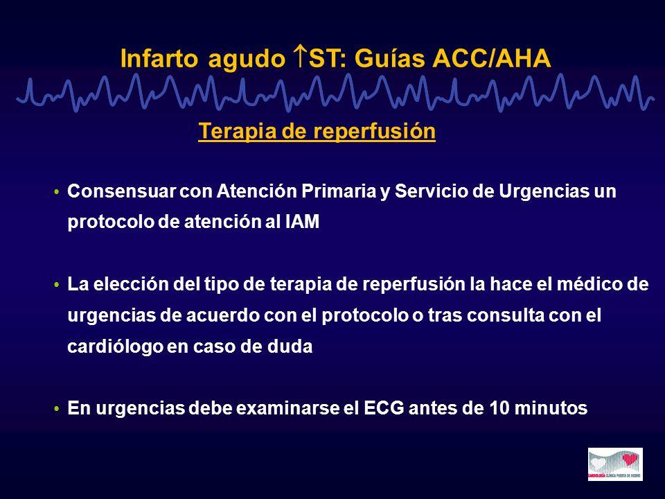 Infarto agudo ST: Guías ACC/AHA Consensuar con Atención Primaria y Servicio de Urgencias un protocolo de atención al IAM La elección del tipo de terap