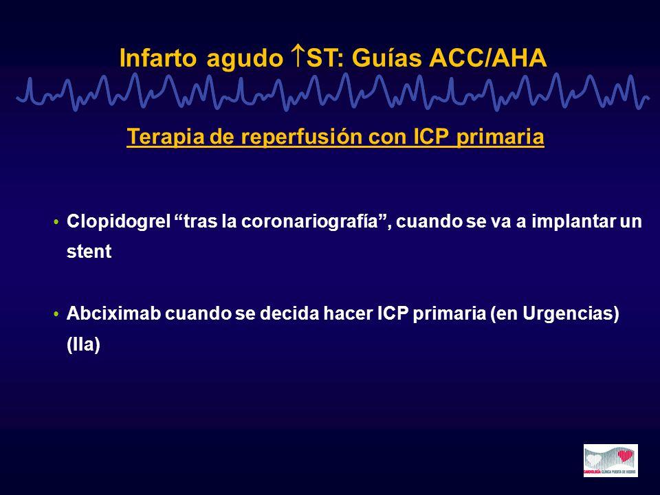 Infarto agudo ST: El año 2004 CREATE: Raviparina reduce mortalidad CREATE-ELA: GIK no reduce la mortalidad CREATE (AHA-04) [ raviparina sc 7 días Placebo ] 15.570 pts IAM, fibrinolisis (73%, st estreptokinasa) o ICP 1ª (6%) ; en ECG 90´: resolución ST <50% Reducción significativa muerte/reinfarto/ictus 30 días (11.8 vs 13.6%; p=0.0014; RRR: 13%) Mayor beneficio si tto en 2h; no beneficio si tto >8h Aumento significativo hemorragias graves (0.2% vs 0.1%) 1000 pts tratados: se evitan 17 muertes/reinfartos/ictus al coste de 1 hemorragia potencialmente letal CREATE-ELA (AHA-04) [ GIK Placebo ] 20.201 pts IAM, fibrinolisis (75%) o ICP (9%) No reducción significativa mortalidad a los 30 días ni de tasa de shock ni reinfarto