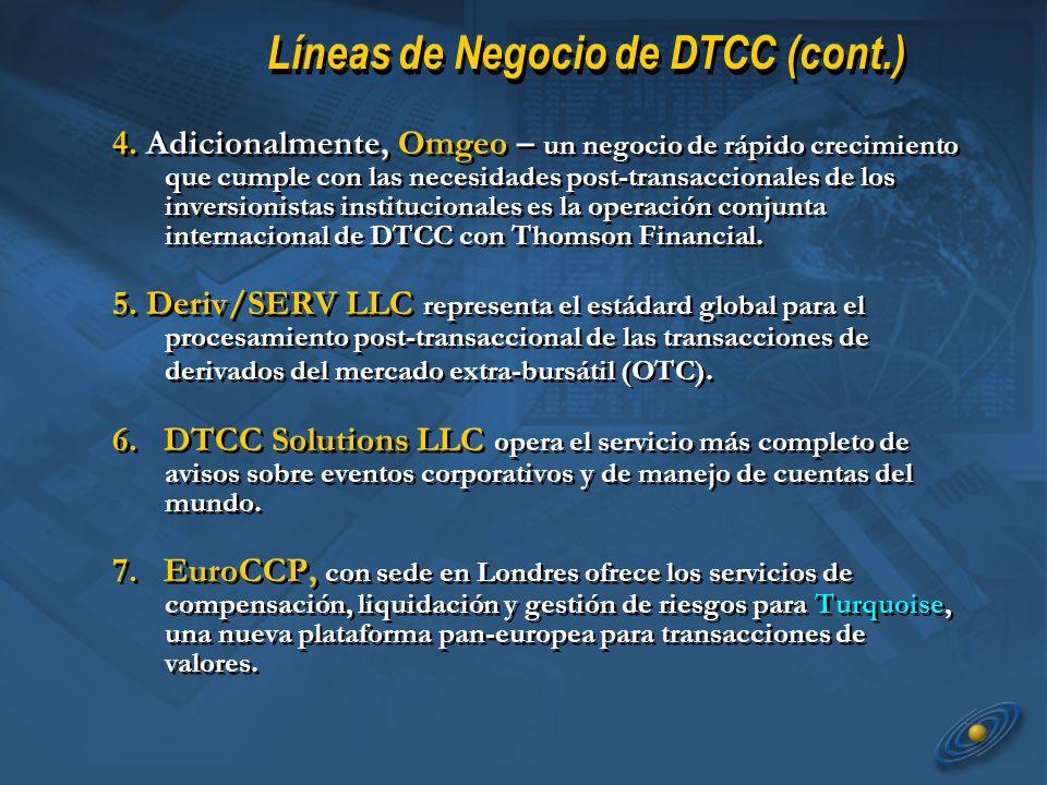 4. Adicionalmente, Omgeo – un negocio de rápido crecimiento que cumple con las necesidades post-transaccionales de los inversionistas institucionales
