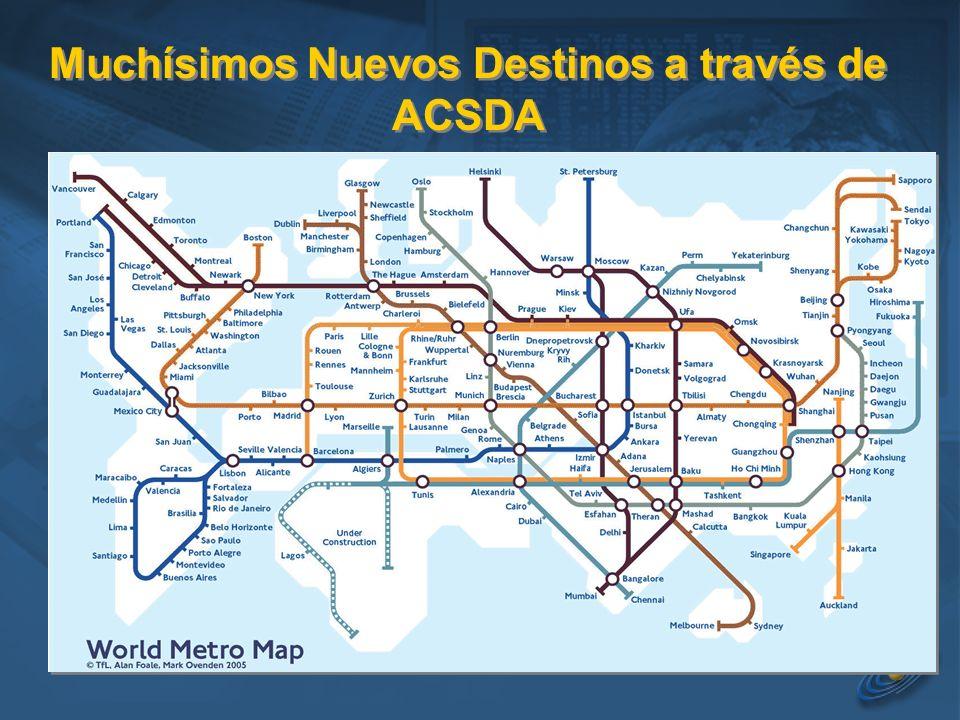 Muchísimos Nuevos Destinos a través de ACSDA
