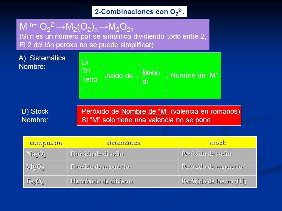 3-Combinaciones con hidrógeno A)Sistemática Nombre: B) Stock Nombre: Hidruro de Nombre de M (valencia en romanos) Si M solo tiene una valencia no se pone.