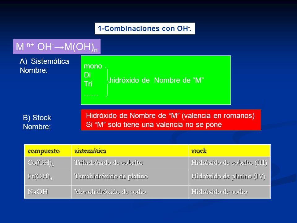 1-Combinaciones con OH -. M n+ OH - M(OH) n A)Sistemática Nombre: B) Stock Nombre: Hidróxido de Nombre de M (valencia en romanos) Si M solo tiene una