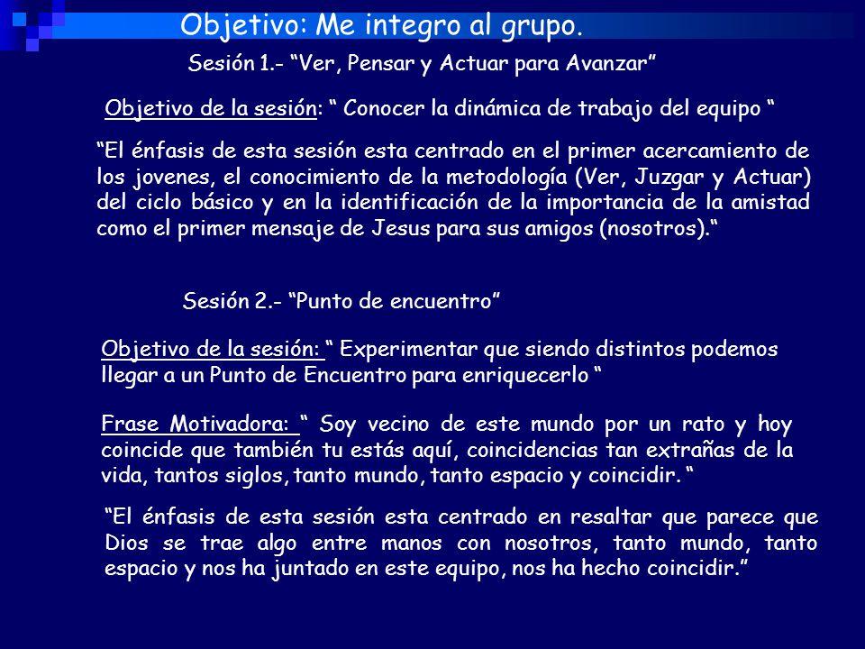 Sesión 1.- Ver, Pensar y Actuar para Avanzar Objetivo: Me integro al grupo.