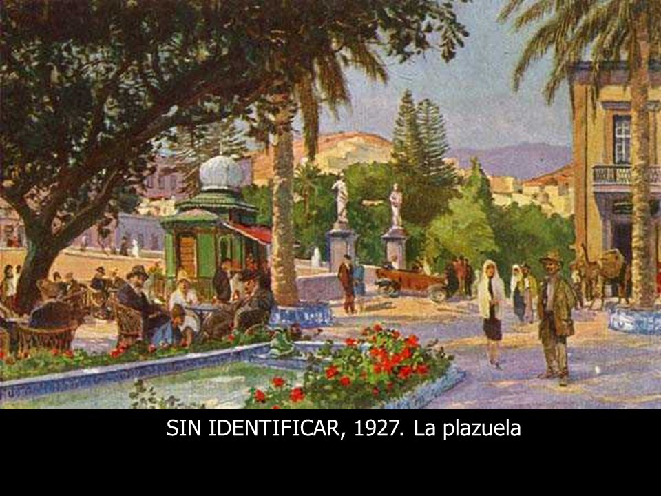 MARCOS BAEZA (Atribuido), 1927. La Plazuela de las ranas. Al fondo el monumento a Hurtado de Mendoza y el Monopol