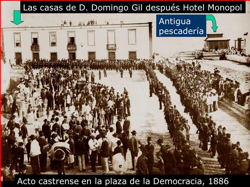 Acto castrense en la plaza de la Democracia, 1886 Las casas de D.