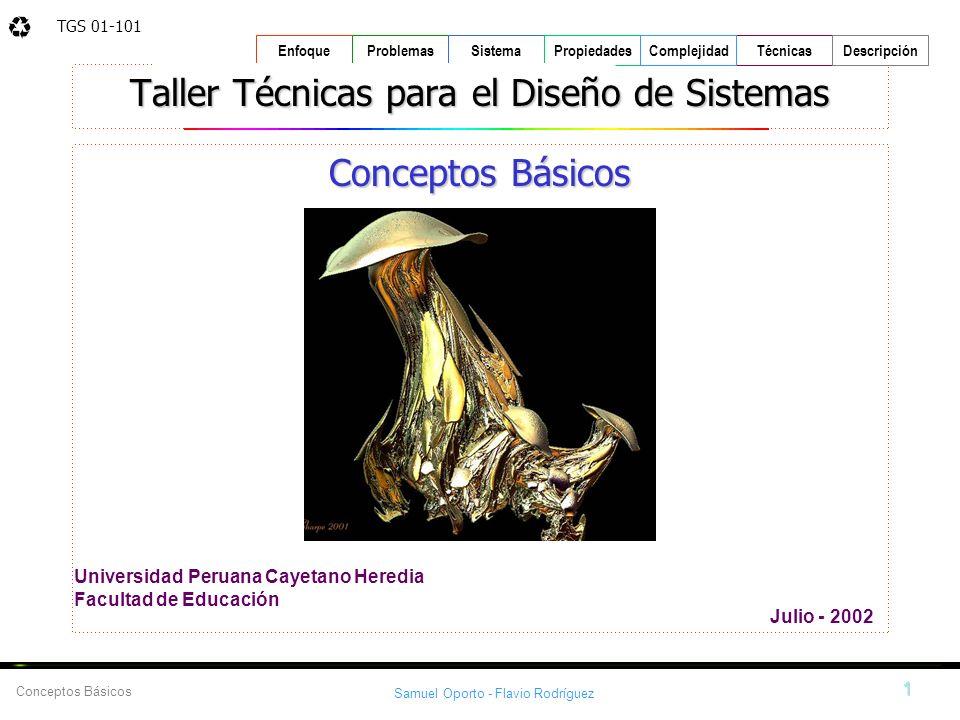 TGS 01-101 Samuel Oporto - Flavio Rodríguez 1 EnfoqueProblemasSistemaPropiedadesTécnicasDescripción Conceptos Básicos Complejidad Universidad Peruana