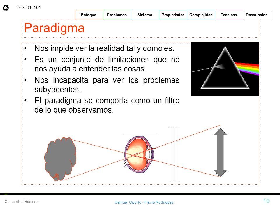 TGS 01-101 Samuel Oporto - Flavio Rodríguez 10 EnfoqueProblemasSistemaPropiedadesTécnicasDescripción Conceptos Básicos Complejidad Paradigma Nos impid