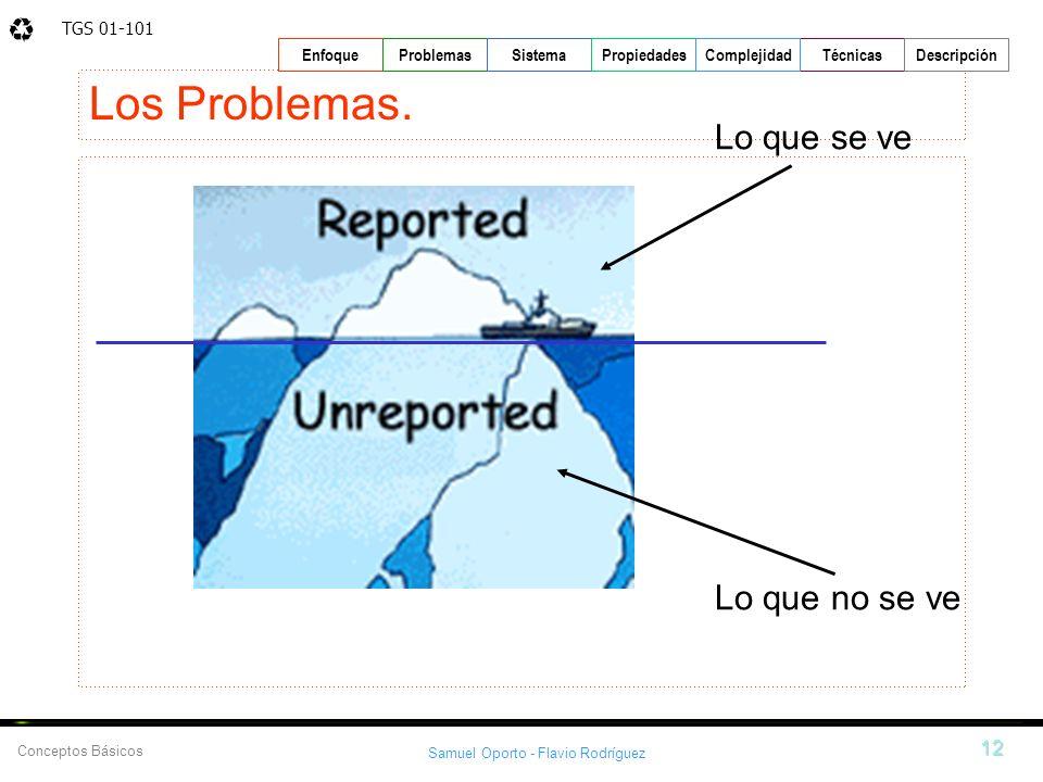 TGS 01-101 Samuel Oporto - Flavio Rodríguez 12 EnfoqueProblemasSistemaPropiedadesTécnicasDescripción Conceptos Básicos Complejidad Los Problemas. Lo q