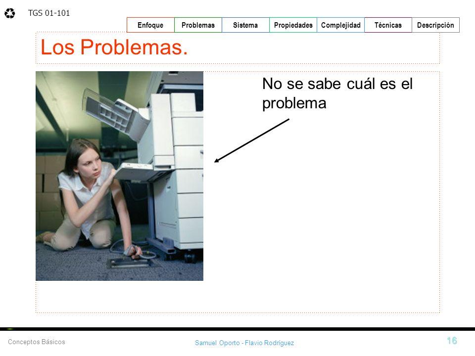 TGS 01-101 Samuel Oporto - Flavio Rodríguez 16 EnfoqueProblemasSistemaPropiedadesTécnicasDescripción Conceptos Básicos Complejidad Los Problemas. No s