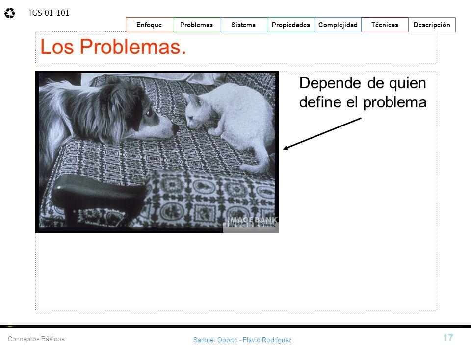 TGS 01-101 Samuel Oporto - Flavio Rodríguez 17 EnfoqueProblemasSistemaPropiedadesTécnicasDescripción Conceptos Básicos Complejidad Los Problemas. Depe