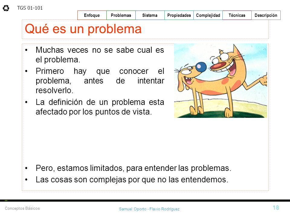 TGS 01-101 Samuel Oporto - Flavio Rodríguez 18 EnfoqueProblemasSistemaPropiedadesTécnicasDescripción Conceptos Básicos Complejidad Qué es un problema