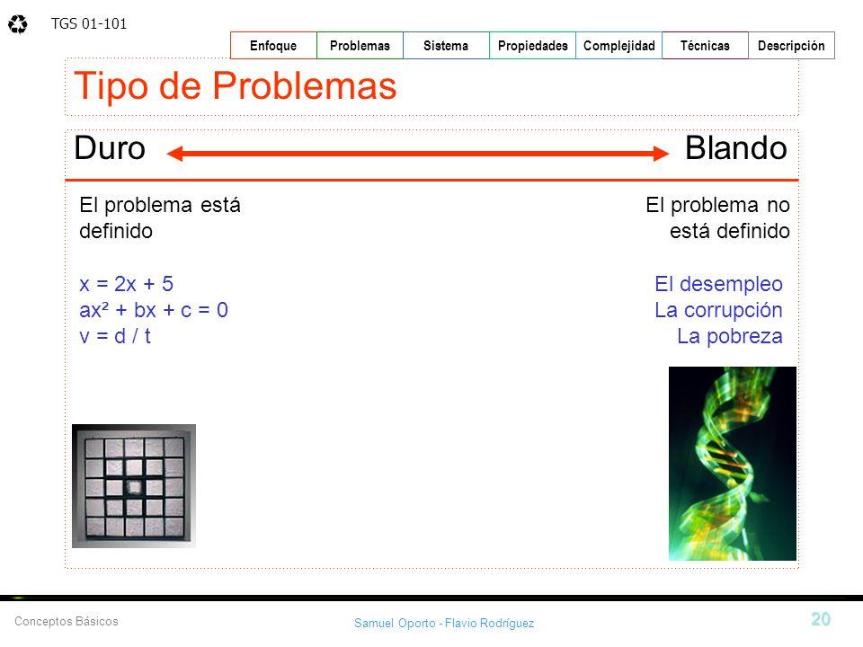 TGS 01-101 Samuel Oporto - Flavio Rodríguez 20 EnfoqueProblemasSistemaPropiedadesTécnicasDescripción Conceptos Básicos Complejidad Tipo de Problemas D