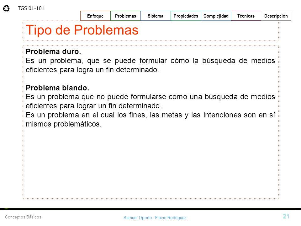 TGS 01-101 Samuel Oporto - Flavio Rodríguez 21 EnfoqueProblemasSistemaPropiedadesTécnicasDescripción Conceptos Básicos Complejidad Tipo de Problemas P
