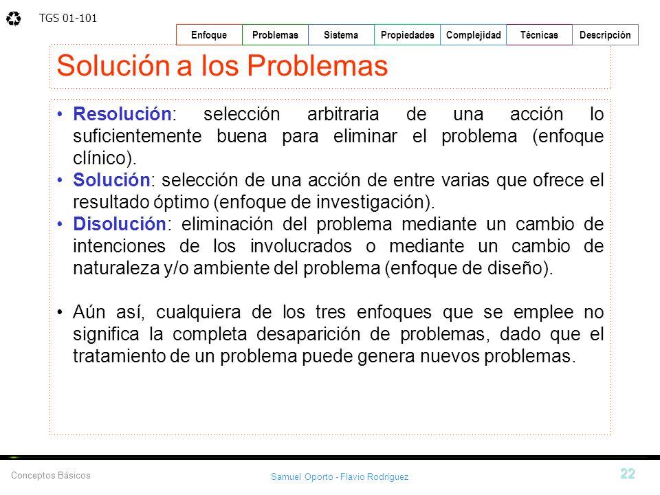 TGS 01-101 Samuel Oporto - Flavio Rodríguez 22 EnfoqueProblemasSistemaPropiedadesTécnicasDescripción Conceptos Básicos Complejidad Solución a los Prob