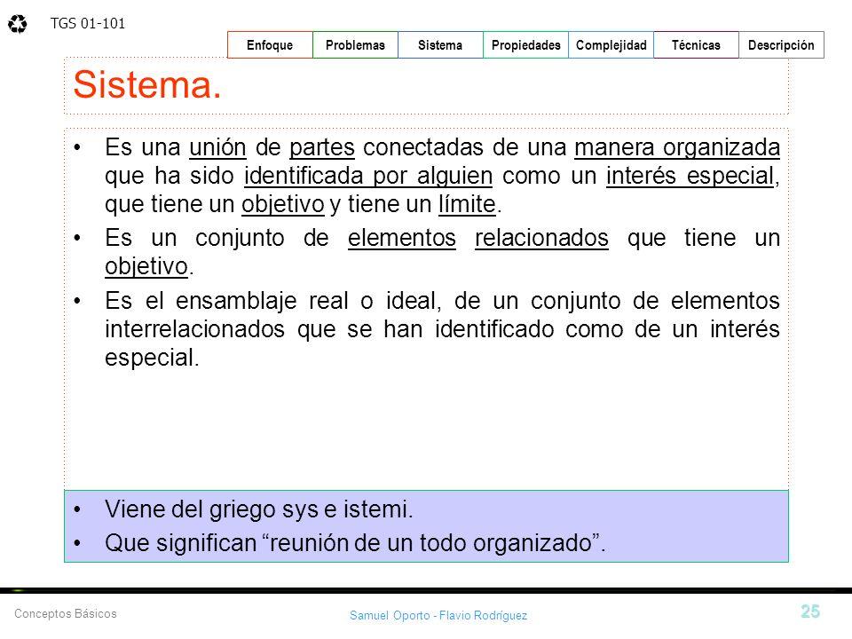 TGS 01-101 Samuel Oporto - Flavio Rodríguez 25 EnfoqueProblemasSistemaPropiedadesTécnicasDescripción Conceptos Básicos Complejidad Sistema. Es una uni