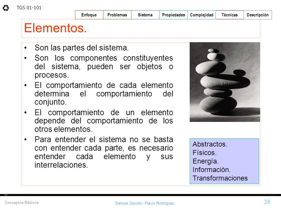 TGS 01-101 Samuel Oporto - Flavio Rodríguez 28 EnfoqueProblemasSistemaPropiedadesTécnicasDescripción Conceptos Básicos Complejidad Elementos. Son las