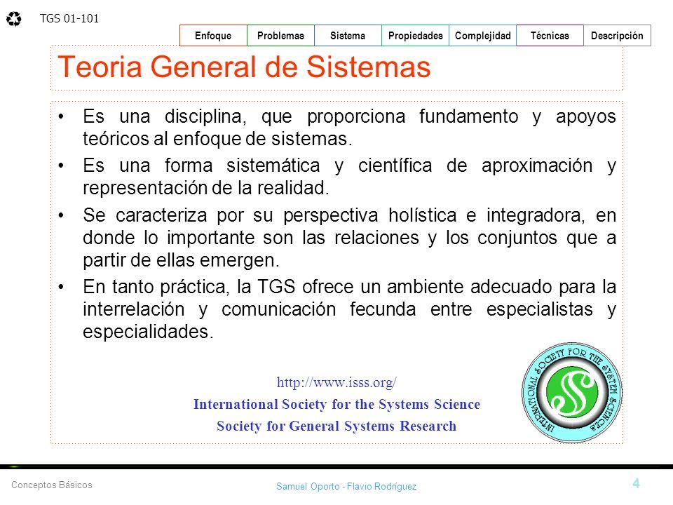 TGS 01-101 Samuel Oporto - Flavio Rodríguez 4 EnfoqueProblemasSistemaPropiedadesTécnicasDescripción Conceptos Básicos Complejidad Teoria General de Si