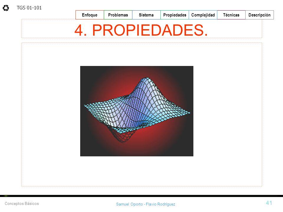 TGS 01-101 Samuel Oporto - Flavio Rodríguez 41 EnfoqueProblemasSistemaPropiedadesTécnicasDescripción Conceptos Básicos Complejidad 4. PROPIEDADES.