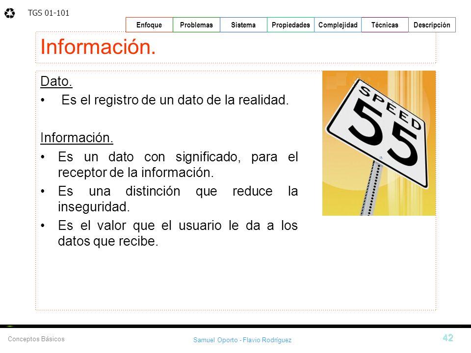 TGS 01-101 Samuel Oporto - Flavio Rodríguez 42 EnfoqueProblemasSistemaPropiedadesTécnicasDescripción Conceptos Básicos Complejidad Información. Dato.