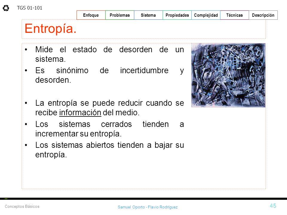 TGS 01-101 Samuel Oporto - Flavio Rodríguez 45 EnfoqueProblemasSistemaPropiedadesTécnicasDescripción Conceptos Básicos Complejidad Entropía. Mide el e