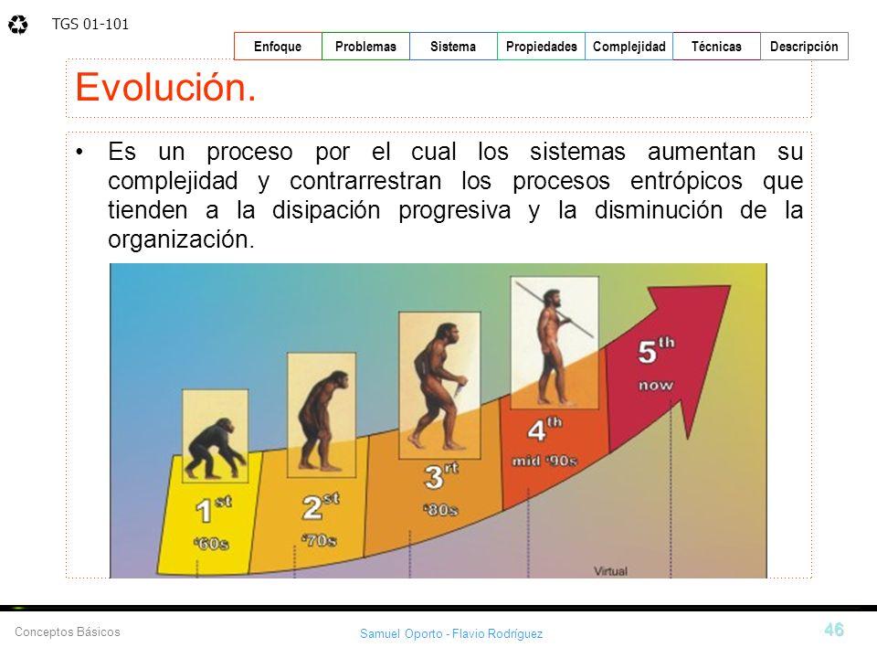 TGS 01-101 Samuel Oporto - Flavio Rodríguez 46 EnfoqueProblemasSistemaPropiedadesTécnicasDescripción Conceptos Básicos Complejidad Evolución. Es un pr