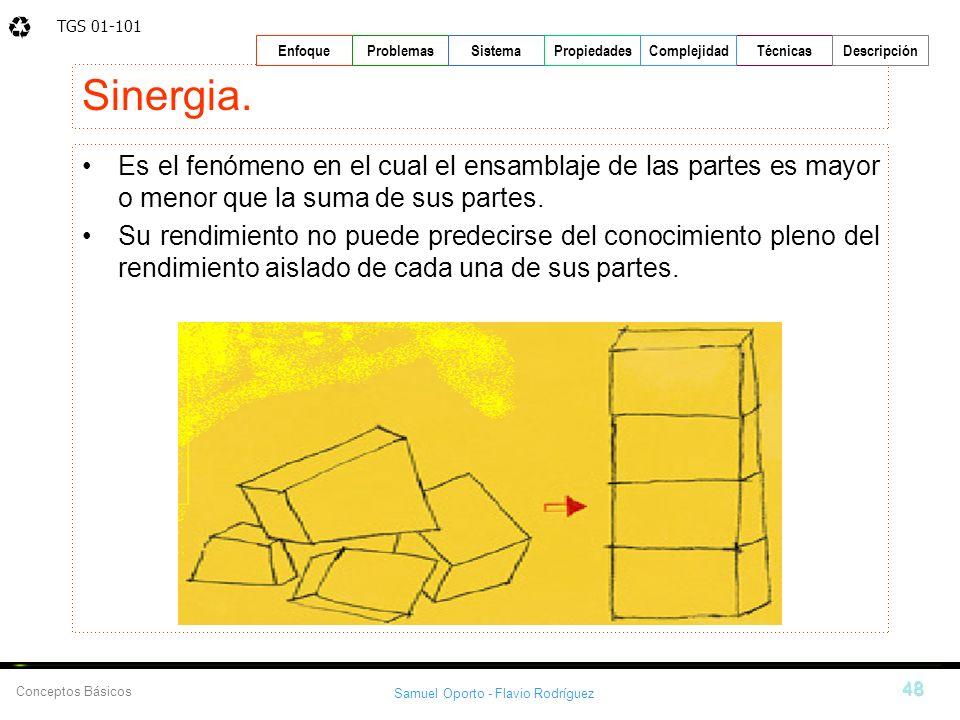 TGS 01-101 Samuel Oporto - Flavio Rodríguez 48 EnfoqueProblemasSistemaPropiedadesTécnicasDescripción Conceptos Básicos Complejidad Sinergia. Es el fen