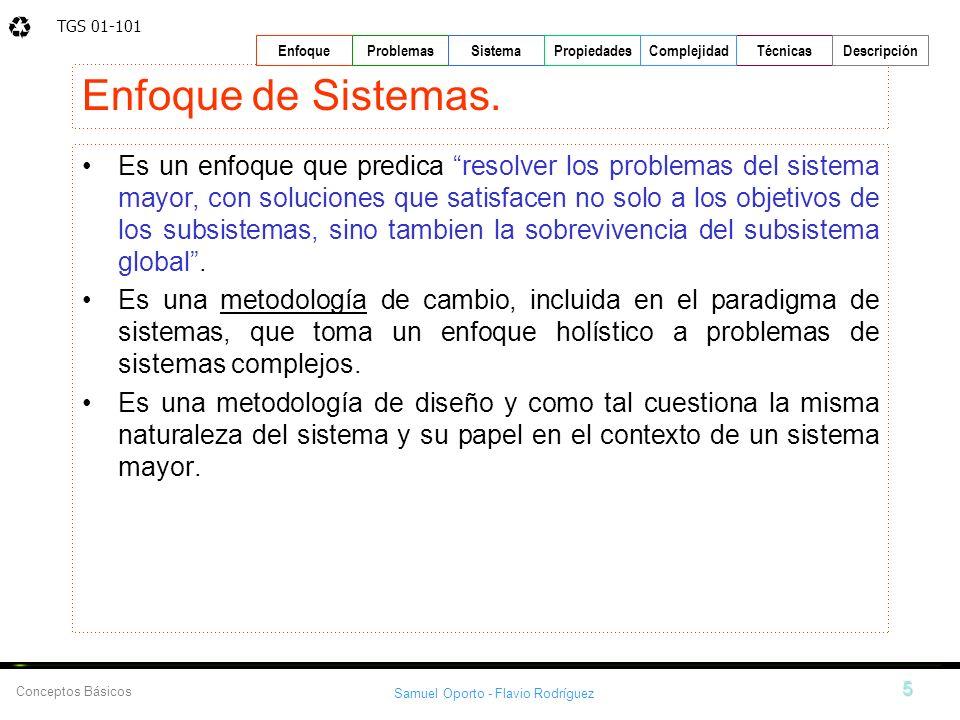 TGS 01-101 Samuel Oporto - Flavio Rodríguez 5 EnfoqueProblemasSistemaPropiedadesTécnicasDescripción Conceptos Básicos Complejidad Enfoque de Sistemas.