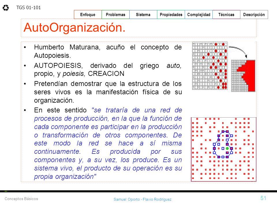 TGS 01-101 Samuel Oporto - Flavio Rodríguez 51 EnfoqueProblemasSistemaPropiedadesTécnicasDescripción Conceptos Básicos Complejidad AutoOrganización. H
