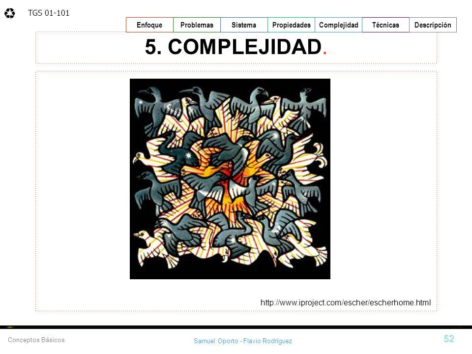 TGS 01-101 Samuel Oporto - Flavio Rodríguez 52 EnfoqueProblemasSistemaPropiedadesTécnicasDescripción Conceptos Básicos Complejidad 5. COMPLEJIDAD. htt