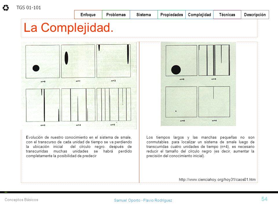TGS 01-101 Samuel Oporto - Flavio Rodríguez 54 EnfoqueProblemasSistemaPropiedadesTécnicasDescripción Conceptos Básicos Complejidad La Complejidad. htt