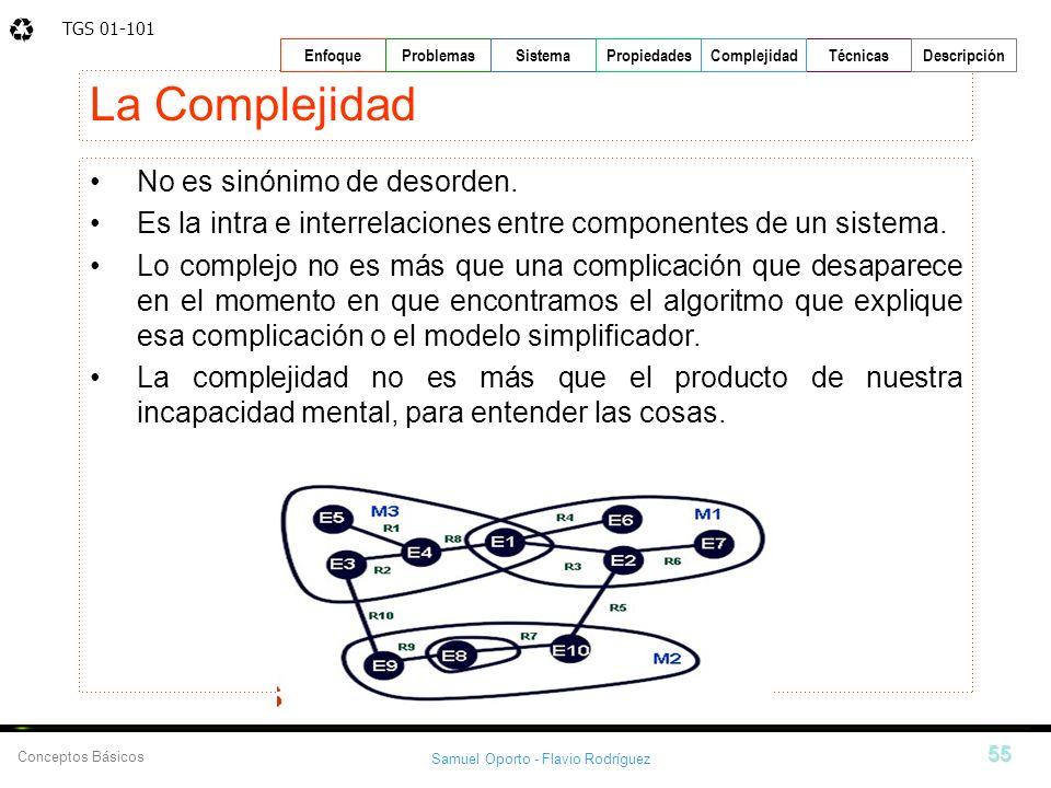 TGS 01-101 Samuel Oporto - Flavio Rodríguez 55 EnfoqueProblemasSistemaPropiedadesTécnicasDescripción Conceptos Básicos Complejidad La Complejidad No e