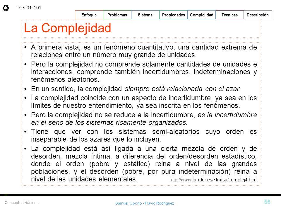 TGS 01-101 Samuel Oporto - Flavio Rodríguez 56 EnfoqueProblemasSistemaPropiedadesTécnicasDescripción Conceptos Básicos Complejidad La Complejidad A pr