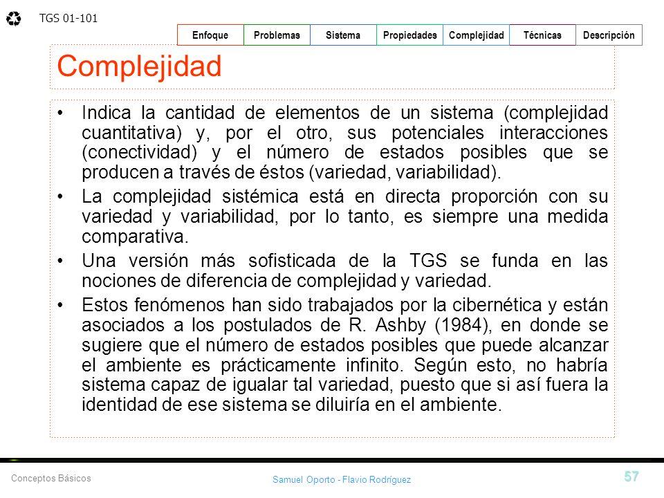 TGS 01-101 Samuel Oporto - Flavio Rodríguez 57 EnfoqueProblemasSistemaPropiedadesTécnicasDescripción Conceptos Básicos Complejidad Indica la cantidad