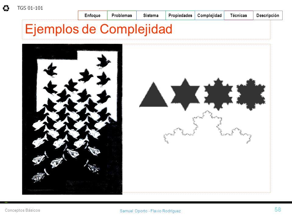 TGS 01-101 Samuel Oporto - Flavio Rodríguez 58 EnfoqueProblemasSistemaPropiedadesTécnicasDescripción Conceptos Básicos Complejidad Ejemplos de Complej