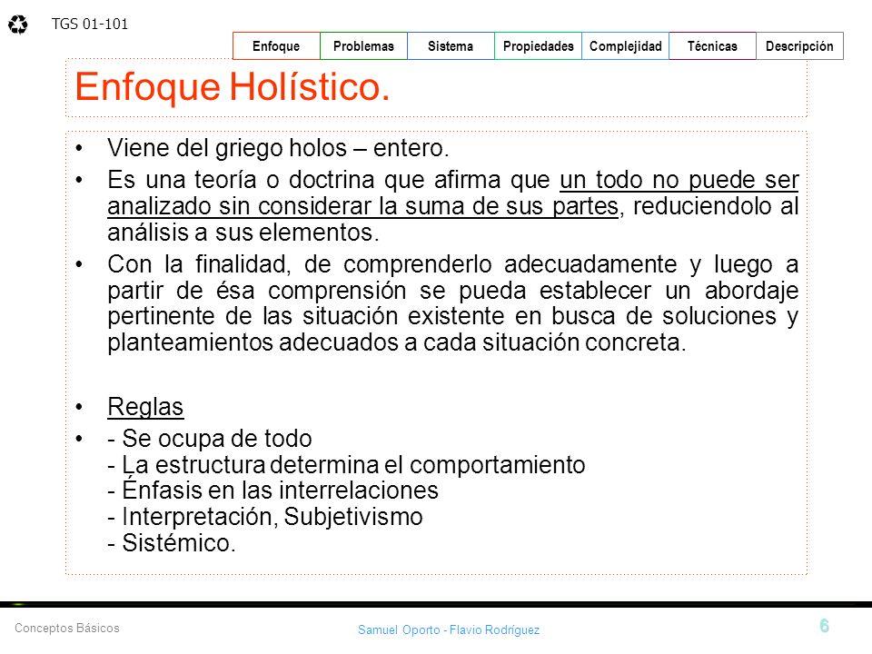 TGS 01-101 Samuel Oporto - Flavio Rodríguez 6 EnfoqueProblemasSistemaPropiedadesTécnicasDescripción Conceptos Básicos Complejidad Enfoque Holístico. V