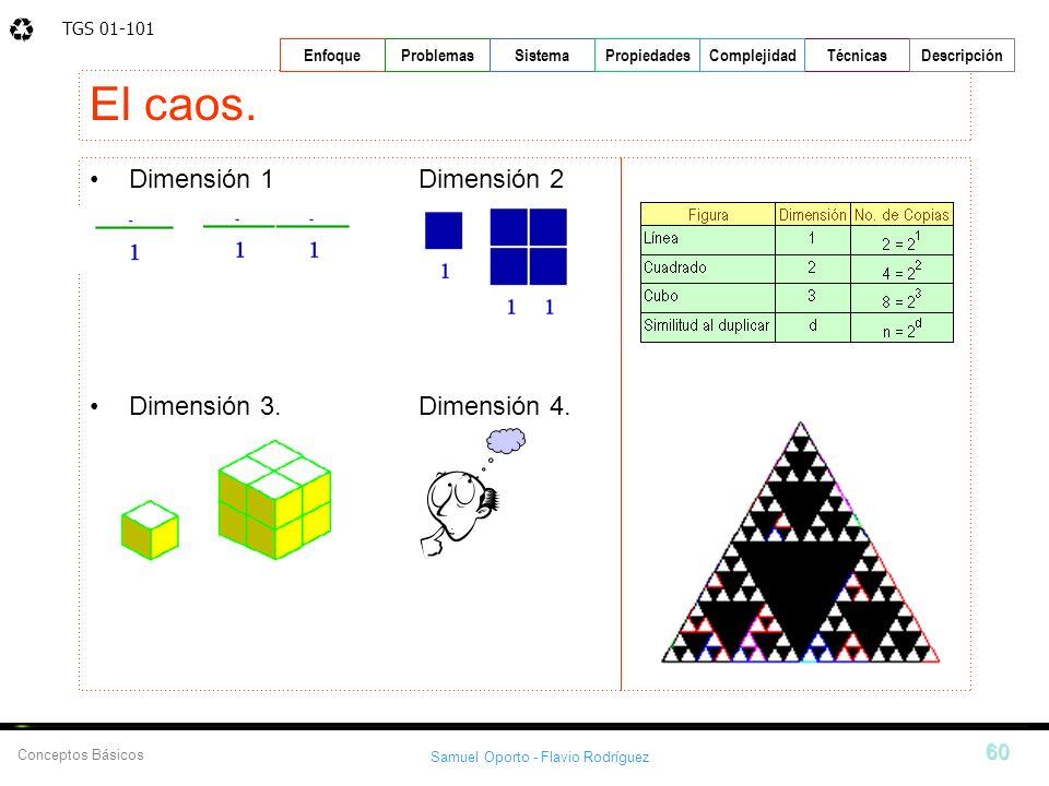 TGS 01-101 Samuel Oporto - Flavio Rodríguez 60 EnfoqueProblemasSistemaPropiedadesTécnicasDescripción Conceptos Básicos Complejidad Dimensión 1 Dimensi