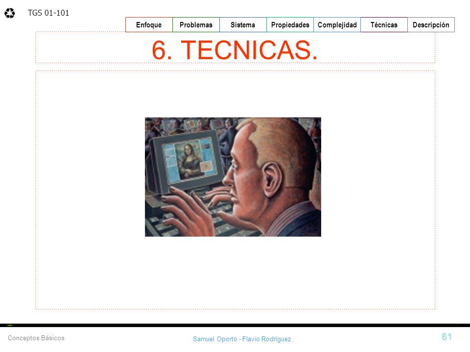 TGS 01-101 Samuel Oporto - Flavio Rodríguez 61 EnfoqueProblemasSistemaPropiedadesTécnicasDescripción Conceptos Básicos Complejidad 6. TECNICAS.