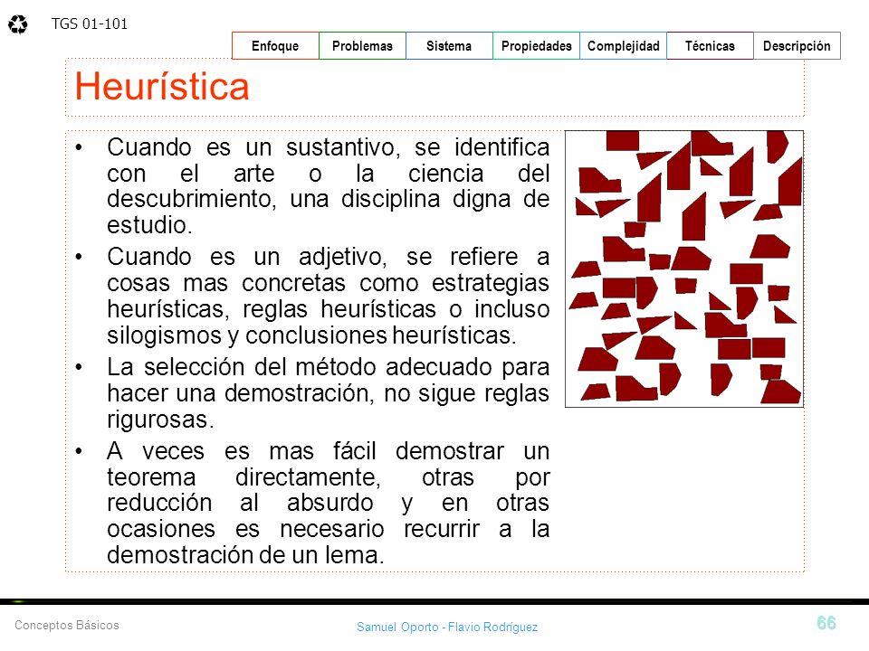 TGS 01-101 Samuel Oporto - Flavio Rodríguez 66 EnfoqueProblemasSistemaPropiedadesTécnicasDescripción Conceptos Básicos Complejidad Heurística Cuando e
