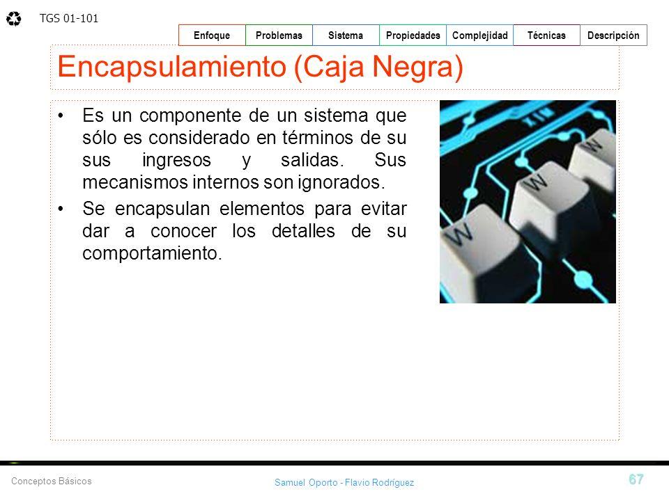 TGS 01-101 Samuel Oporto - Flavio Rodríguez 67 EnfoqueProblemasSistemaPropiedadesTécnicasDescripción Conceptos Básicos Complejidad Encapsulamiento (Ca