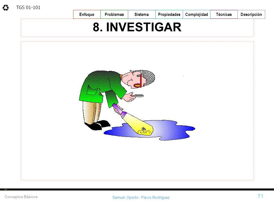 TGS 01-101 Samuel Oporto - Flavio Rodríguez 71 EnfoqueProblemasSistemaPropiedadesTécnicasDescripción Conceptos Básicos Complejidad 8. INVESTIGAR