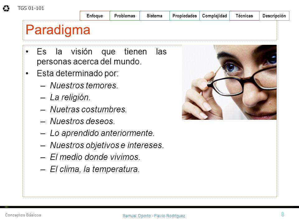 TGS 01-101 Samuel Oporto - Flavio Rodríguez 8 EnfoqueProblemasSistemaPropiedadesTécnicasDescripción Conceptos Básicos Complejidad Paradigma Es la visi