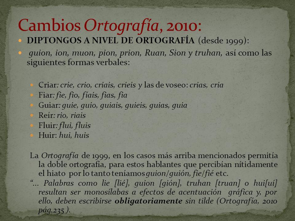 DIPTONGOS A NIVEL DE ORTOGRAFÍA (desde 1999): guion, ion, muon, pion, prion, Ruan, Sion y truhan, así como las siguientes formas verbales: Criar: crie