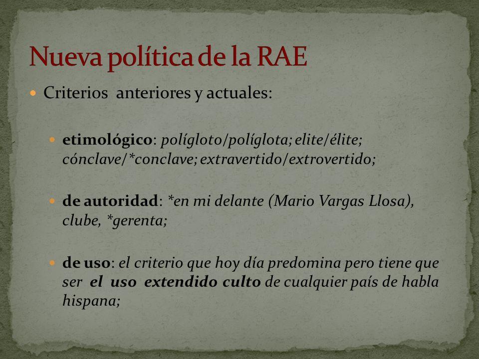 Criterios anteriores y actuales: etimológico: polígloto/políglota; elite/élite; cónclave/*conclave; extravertido/extrovertido; de autoridad: *en mi de