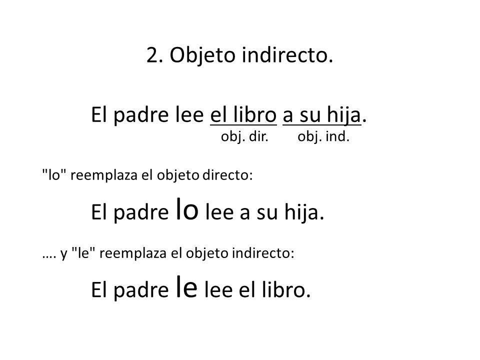 El padre lee el libro a su hija. 2. Objeto indirecto. obj. dir.obj. ind. El padre lo lee a su hija. El padre le lee el libro.